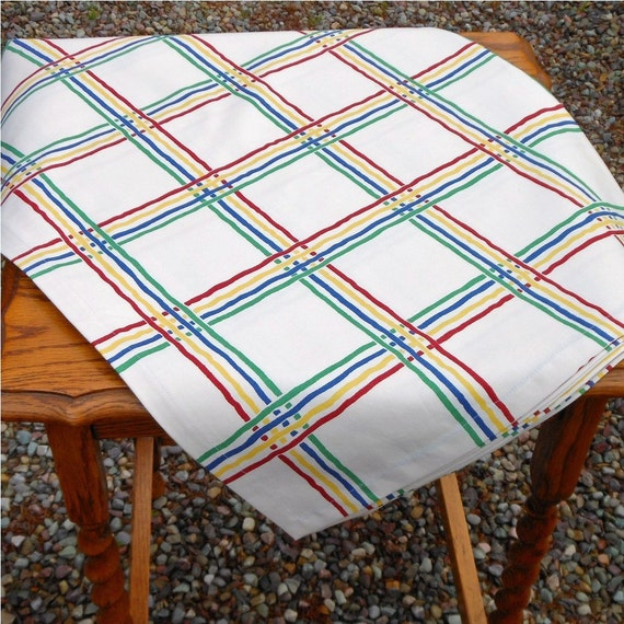 Vintage Style Tablecloth 52x78 - Primary Color Grid