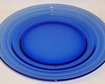Hazel Atlas Depression Glass Cobalt Blue MODERNTONE 8 7/8 Inch Dinner Plate