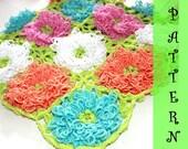 Crochet PATTERN: Zinnia Pop-up Blanket, Baby, Home decor