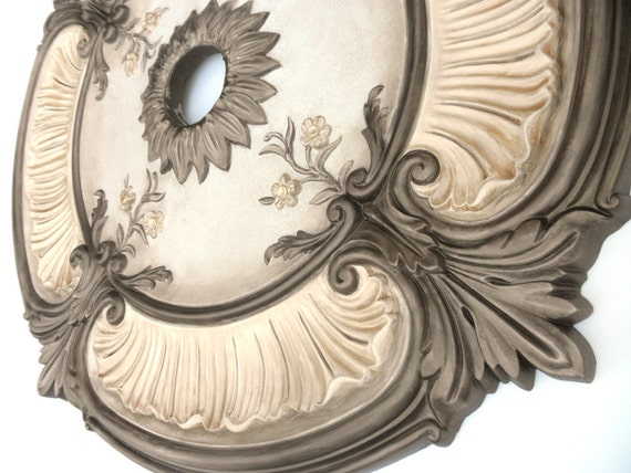 Items similar to Painted Ceiling medallion ACANTHUS LEAF bronze – Chandelier Medallion