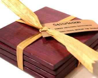 Purpleheart Wood Coaster Set of 4