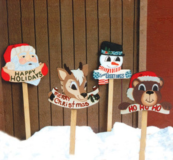 Christmas santa rudolph bear or snowman wood outdoor for Christmas yard signs patterns