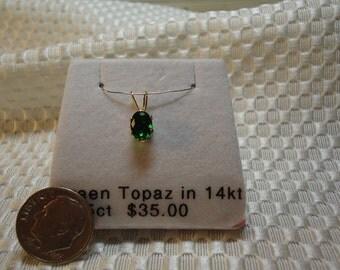 Green Topaz Pendant in Solid 14K Gold