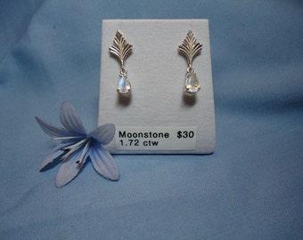 Pear cut Moonstone Dangle Earrings in Sterling Silver