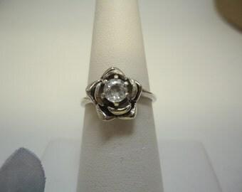 White Zircon Rose Ring in Sterling Silver   #344