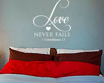 Love Never Fails Vinyl Wall Art  Decal