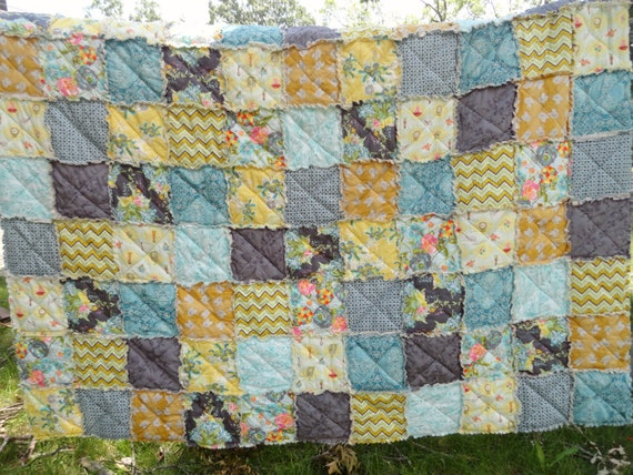 Sale Queen Size Rag Quilt in Bari J. Ackerman's Lilly Belle fabric, grey yellow patchwork, READY TO SHIP