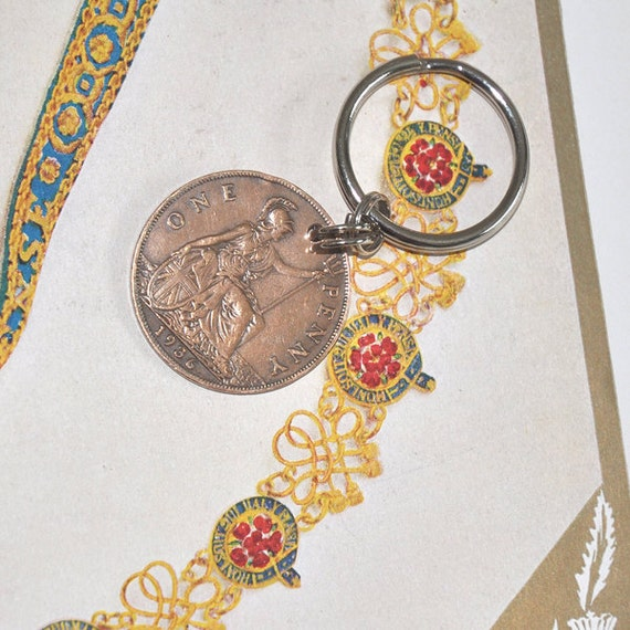 Old Coin Key Chain, British 1936 George V Penny Key Chain, Upcycled 1930s vintage coin key chain