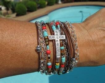 "Boho - ""Indian Summer"" - Endless Leather Wrap"