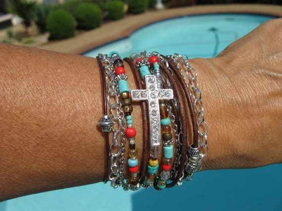 "Boho - ""Indian Summer"" - Endless Leather Wrap"