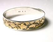 Reserved Turtle Sterling Silver and 8k Bangle Bracelet