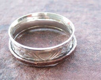 """Custom and personalized sterling silver """"folk art hearts"""" spinner ring wedding ring"""