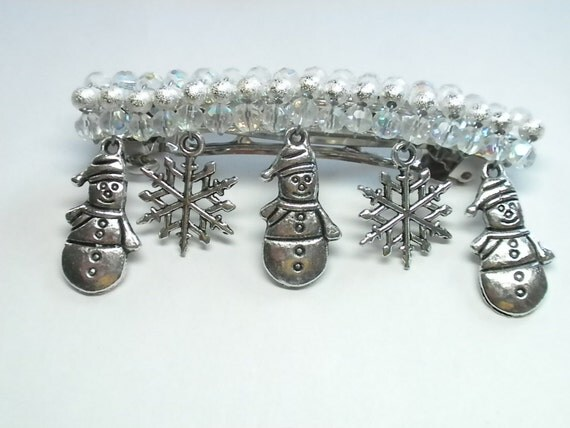 Crystal Beaded Barrette with Snowman and Snowflake Charms