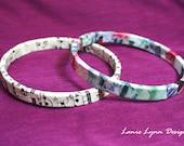 Decoupage Bangle Bracelet - Vintage Sheet Music & Tie Dye (Set of 2) - Size Large