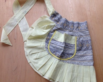 Vintage Cotton Apron, Pleated Hem, Yellow, Black and White, Mad Men Look