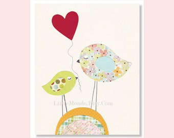 Children's Wall Art Print, NURSERY ART PRINT, Baby Girl Nursery Print , Birds, Pastels, Nursery Decor, Modern Nursery Art