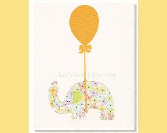 Baby Girl Nursery Prints, NURSERY ART, Elephant Print, Yellow Nursery Art, Toddler Girl Decor, Art For Little Girl
