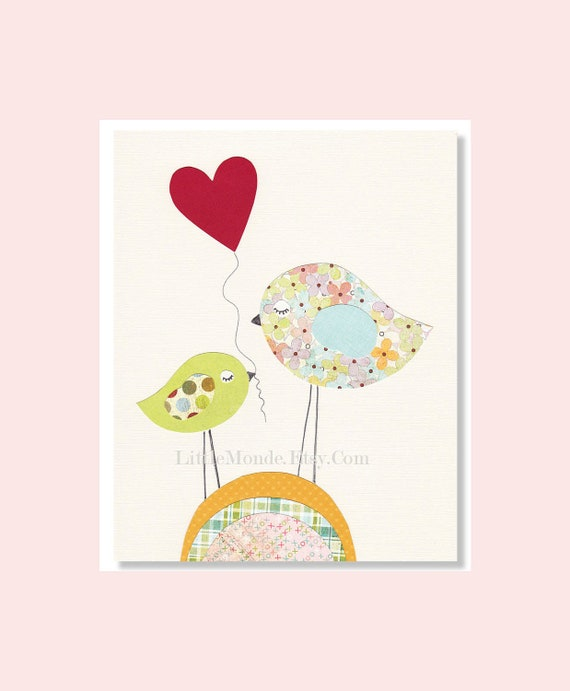 Children's Wall Art Print, NURSERY ART PRINT, Baby Girl Nursery Print , Birds, Pastels, Nursery Decor, Modern Nursery Art