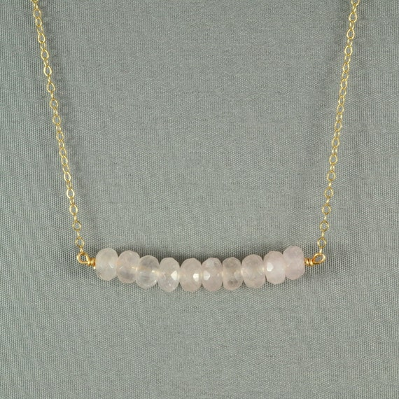 Beautiful Rose Quartz Beads Necklace, Wired Wrapped Beads, 14K Gold Filled Chain,  also in Sterling Silver