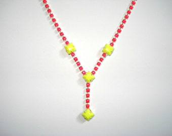 Neon Color Pop Hand Painted Vintage Rhinestone Necklace
