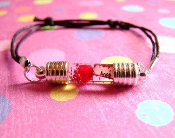 STRAIGHT Double Ended Name On Rice Grain Glass Bracelet Vial Real Dried Flowers Glitter  Liquid Necklace