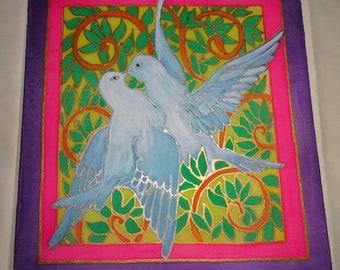 "Hand painted silk. Square silk 10""x10"" painted with German Marabu Silk Paint."