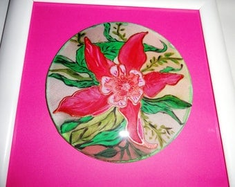 Hand painted silk art. Set of two. Wild pink orchid flowers painted on silk cercle, framed on pink background with a white frame.