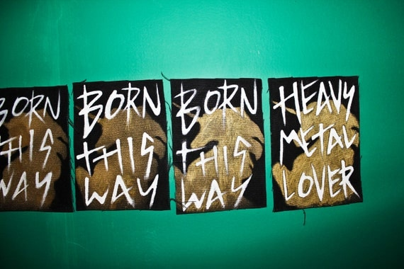 Little Monster Lady Gaga Inspired Bad Kid, Heavy Metal Lover and Born This Way Hand Painted Unicorn Patches On Black Canvas