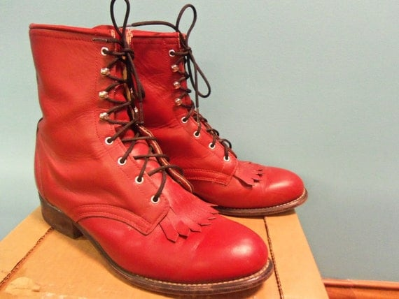 LASTCHANCE SALE Vintage Laredo Red Lace Up Boots / 9.5 / 10M