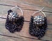 Black Gunmetal Chain Pave Bead Dangling Hoop Statement Earrings