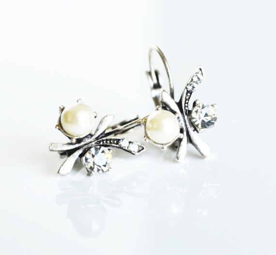 art deco clear crystal swarovski rhinestone pearl tibetan silver plated earrings wedding bridal jewelry bridesmaids jewelry gifts