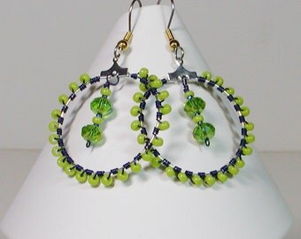 Lime Beaded Hoop Earrings Wire Wrapped with Green Crystal Dangle Charm