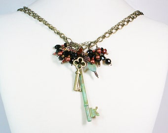 Key Wire Wrapped Necklace, Victorian Chic