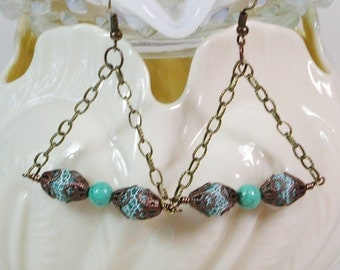Chain Earrings, Antique Style, Turquoise Earrings