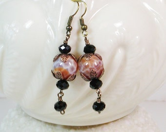 Victorian Earrings, Black Crystal and Fire Agate