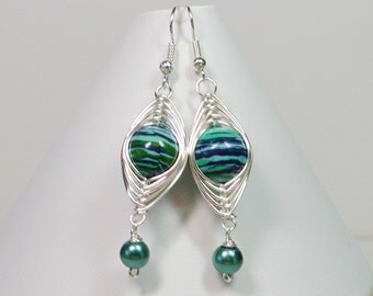 Wire Wrapped Earrings, Swirl Beads in Blue, Turquoise and Green