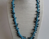 Black tourmaline chips and turquoise seed bead necklace, beaded necklace, bead weaving