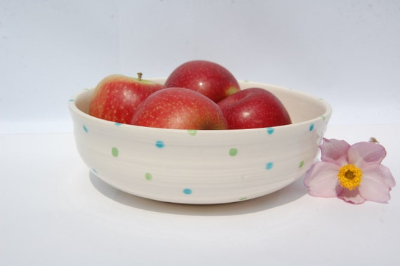 Spotted Fruit Bowl,  Ceramic Wedding Gift
