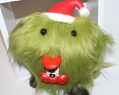 Grinch FUZZ HEAD - Hand Sewn, Fun Fur Monster with Vintage Potato Head Parts, Christmas in July