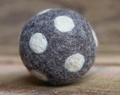 felted wool ball - charcoal with ivory dots