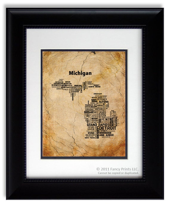Unique housewarming gift Father's Day - Cities of MICHIGAN, fathers day gift Michigan Map Housewarming Family Christmas gift for him