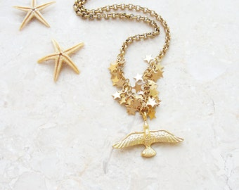 Bird and Stars Necklace - Gold dipped Patriotic Jewelry