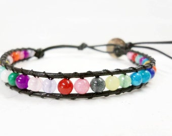 Candy  Bean  Leather Bracelet