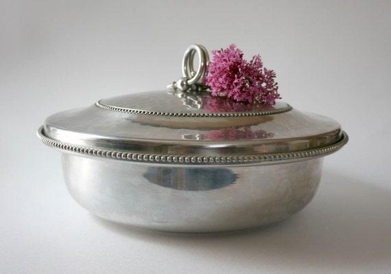 Vintage Buenilum Aluminum Covered Dish with glass Pyrex insert casserole gray grey retro mid century industrial