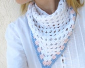 White Lace Triangle Scarf with pastel pink and blue edge /  White Hairkerchied in Boho style Europeanstreetteam