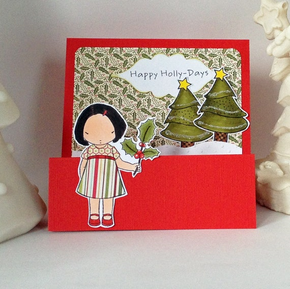 Happy Holly Days handmade Christmas greeting card red featuring a little asian girl holding holly