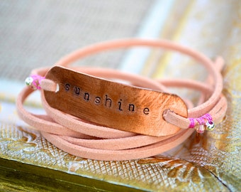Peach suede leather wrap bracelet - stamped Sunshine on copper