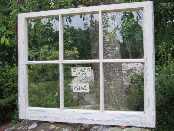 Vintage Window sash old 6 pane 31 x 25 from 1939 RARE 8 x 10 glass