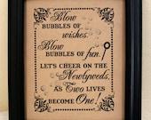 8 x 10  Wedding Sign- Bubble Send Off - Bubble First Dance- Bubble Recessional-Bubble Favors Single Sheet (Style: BUBBLES)