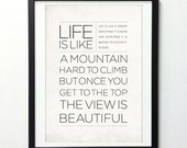 """Life Manifesto Poster """"Life Is Like A Dream And Mountain"""" Typography Quote Art, Inspirational Print, Typography Wall Art, Quote Posters"""